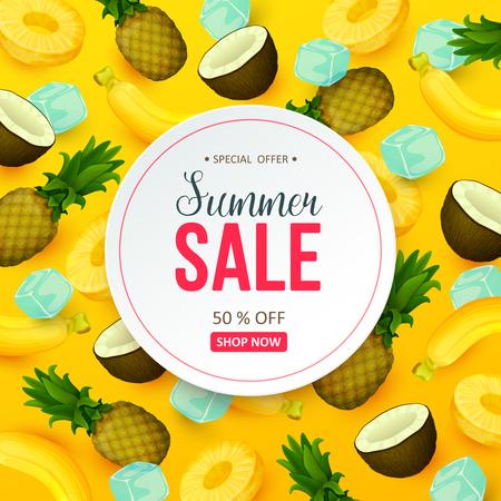Summer sale background with fruits. Vector illustration. Иллюстрация