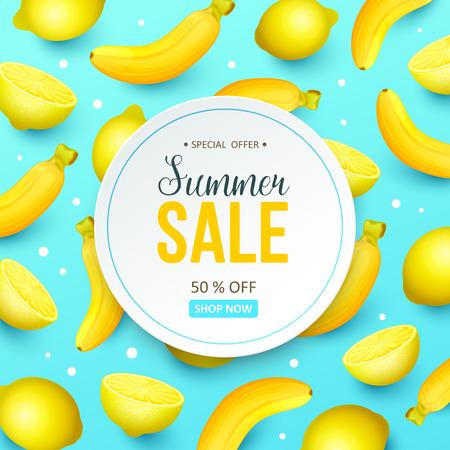 Summer sale background with fruits. Vector illustration. Illusztráció