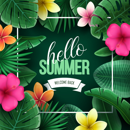 Summer sale background with tropical flowers and palm leaves. Vector illustration. Illusztráció