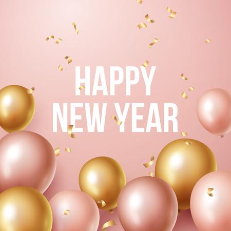 Happy new year 2019 background with floating party balloons. Vector illustration Illusztráció