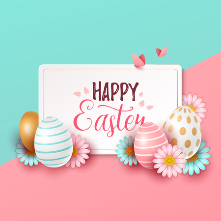 Easter background with spring flowers and eggs. Vector illustration Illustration