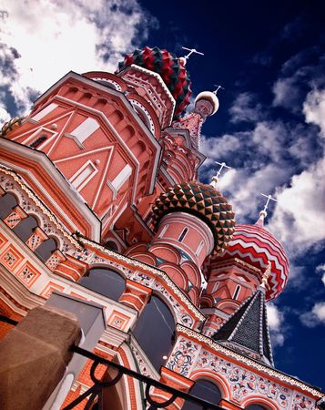 place to shine: St. Basil Cathedral on Red Square in Moscow, Russian Federation