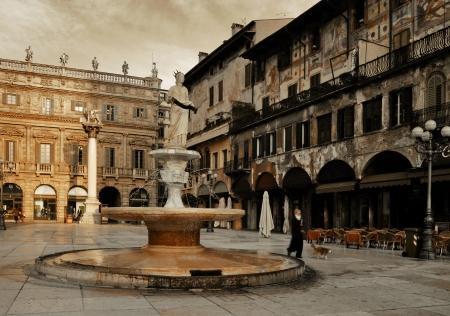Piazza Erbe in Morning. Square of Verona. Italy