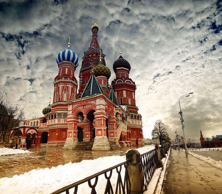 Catedral de San Basilio en la Plaza Roja de Moscú, en la Federación de Rusia