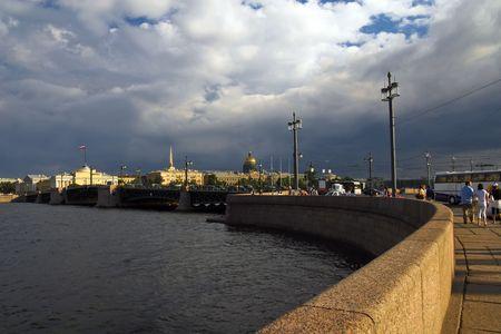 Panorama of saint Petersburg on Neva-river and Saint Isaacs Cathedral photo