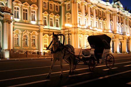 White horse near Winter Palace. Russian Federation. Night scene photo