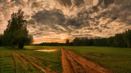 Evening rural landscape with road Stock Photo - 4425755