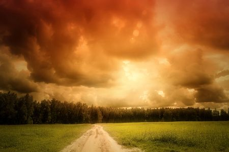 Landscape with field, road and forest on sunset Stock Photo - 4425737