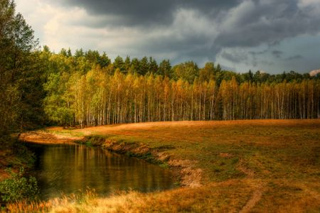 Autumn evening landscape with river Stock Photo - 4425744