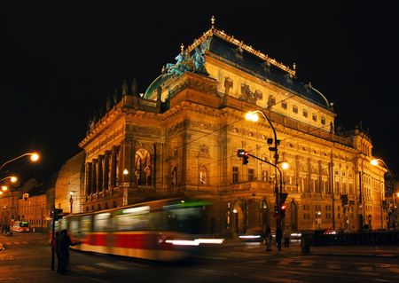 Night view on Prague National theater. photo