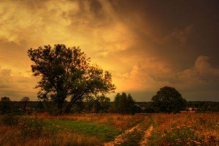 Autumn landscape before thunderstorm photo