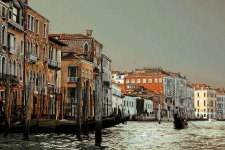 Venetië huizen op het Canal Grande. Italië Stockfoto