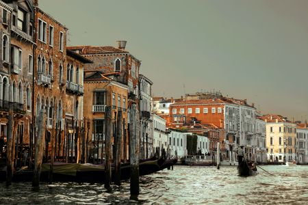 Venice houses on The Grand Canal. Italy Imagens