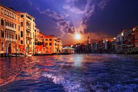 The Grand Canal in Venice on sunset, Italy photo