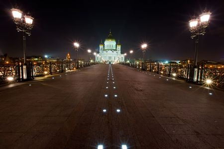 The restored Cathedral of Christ the Savior in Moscow at night photo
