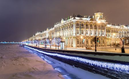 tourism in russia: Winter Palace (Hermitage museum) by Rastrelli. View from Neva-river. Saint-Petersburg, Russia