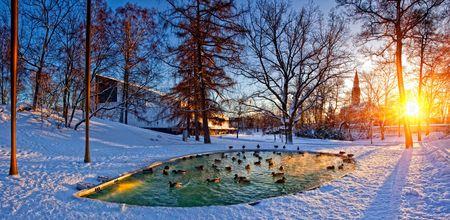 Helsinki park met een vijver. Over Helsinki Hall en het nationaal museum. Finland  Stockfoto