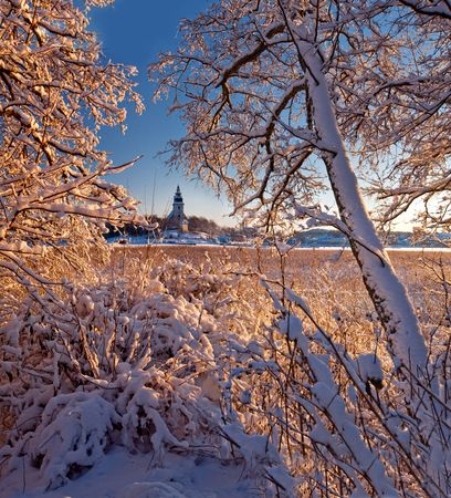 Naantalis medieval stone church in winter photo