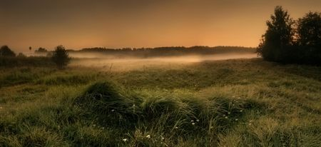Panoramic landscape with field and fog in the evening
