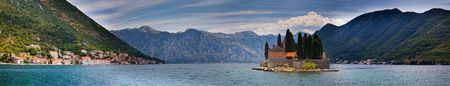 Bay of Kotor and The island of St. George opposite the town of Perast