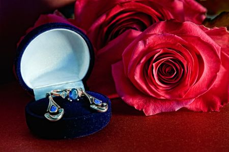 Sapphire jewelrys and red rose photo