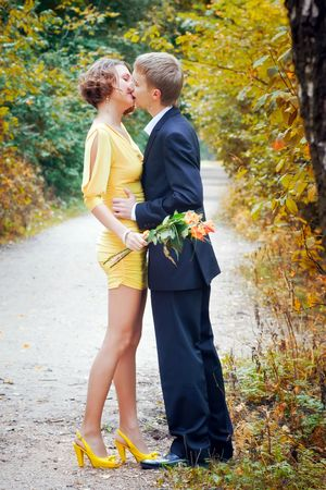 Young couple on date in an autumn park Stock Photo - 7917471