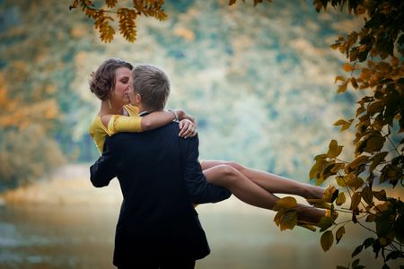 Young couple on date in an autumn park