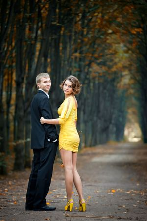Young couple on date in an autumn park Stock Photo - 7917460