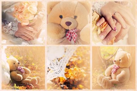 A collection of wedding photos in cream colors Stock Photo - 8394915