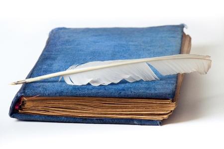 羽ペンを白で隔離されるアンティーク ブルー ベルベットの写真アルバム 写真素材