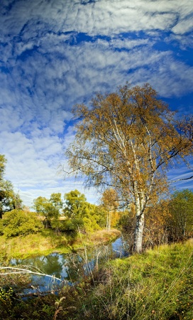 Panoramic landscape of sunny autumn field with forest river Stock Photo - 8764262
