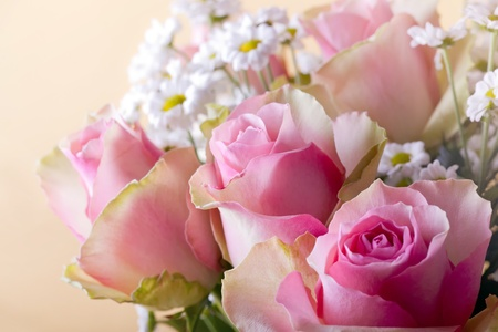 Bouquet of blossom pink roses and chrysanths Stock Photo - 9157779