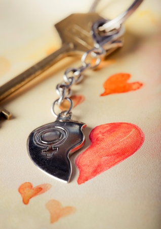 play date: Key with heart pendant and romantic letter