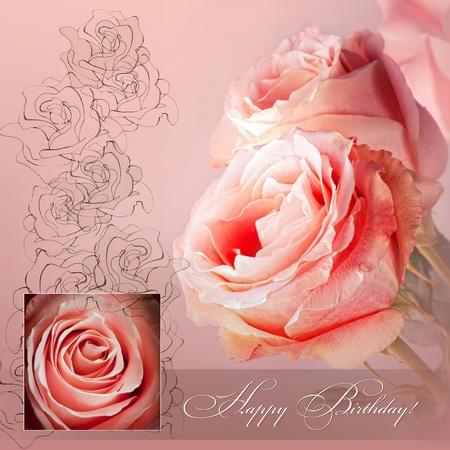 auguri di buon compleanno: Auguri di compleanno felice con rose rosa Archivio Fotografico