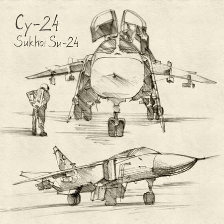 De serie van de sovjet militaire machinerie. De Sukhoi Su-24 een supersonische, all-weather aanval vliegtuigen ontwikkeld in de Sovjet-Unie