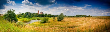 the volga river: Summer panoramic landscape with river and church