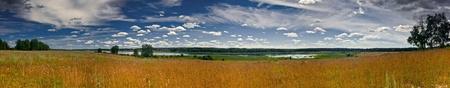 the volga river: Summer panoramic landscape with Volga-river Stock Photo