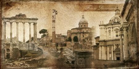 ヴィンテージのカードのシリーズ。ローマのフォーラム