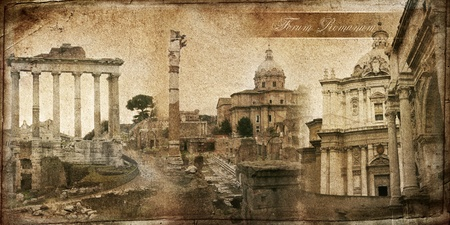 The series of vintage cards. Forum In Rome