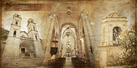 montenegro: The series of vintage cards. Kotor Cathedral Stock Photo