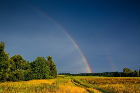 Landscape with country road and rainbow photo