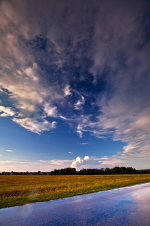 Landscape with country road and sky after storm Stock Photo - 10458705