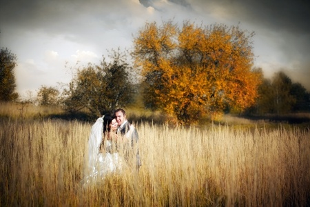Kissing newlyweds in autumn field