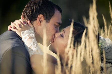 Kissing newlyweds in autumn field Stock Photo - 10573723