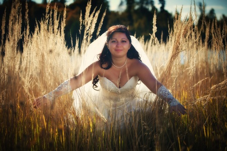 hayloft: Beautiful bride posing in autumn field Stock Photo