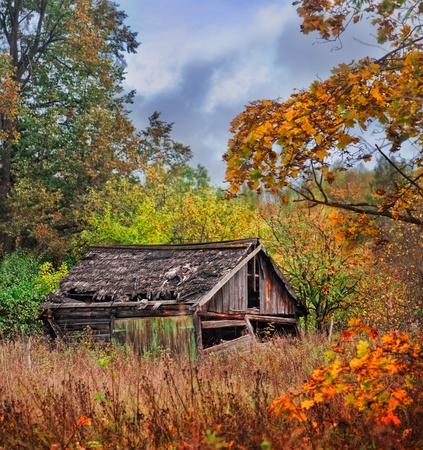 cabaña: Antigua casa de madera en el pueblo de Rusia en el otoño