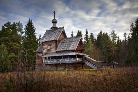 transfiguration: Wooden christian Church in forest