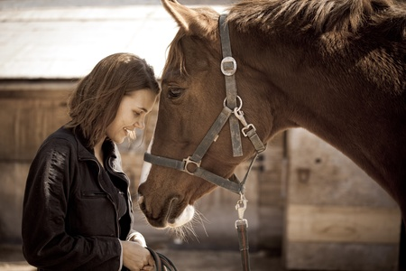 horse harness: Portrait of smiling young woman with horse Stock Photo