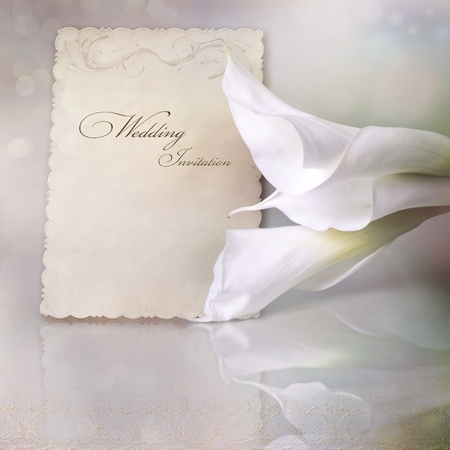 Wedding invitation card with calla lilies Stock Photo