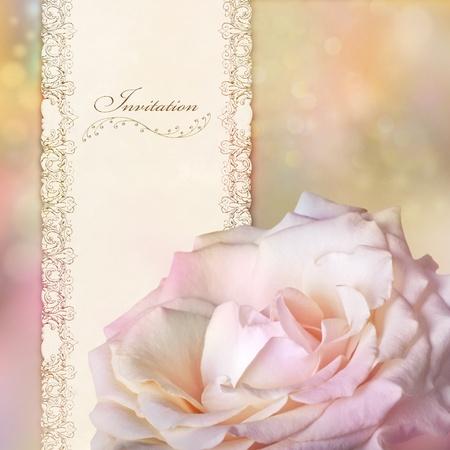 ピンクのバラの招待カード